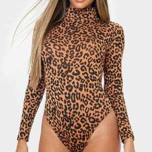 Tan Leopard Print Roll Neck Long Sleeve Bodysuit